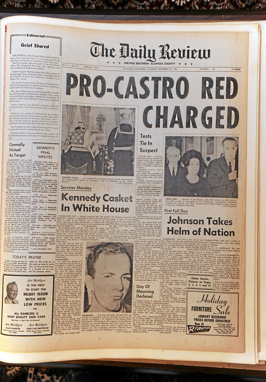 . Don Stokes of Westchester made a scrapbook of newspaper pages from the time of JFK\'s assassination in 1963 for a Cub Scout project.