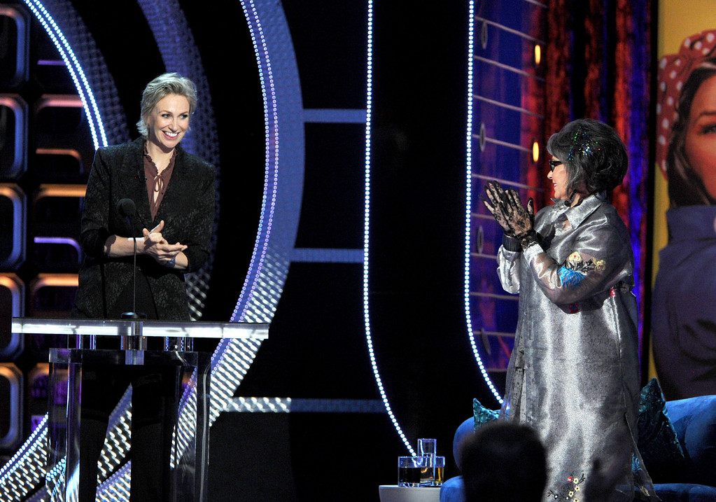 . HOLLYWOOD, CA - AUGUST 04:  Roastmaster Jane Lynch (L) and Roastee Roseanne Barr speak onstage during the Comedy Central Roast of Roseanne Barr at Hollywood Palladium on August 4, 2012 in Hollywood, California.  (Photo by Kevin Winter/Getty Images)