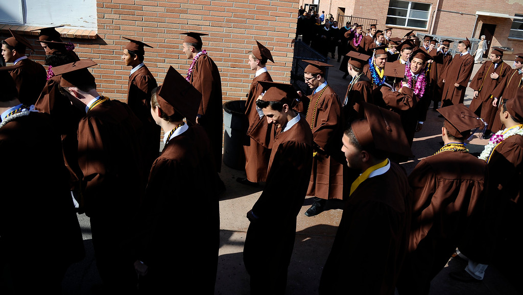 . Grads make their way in to the start of the Crespi High class of 2013 graduation. May 24.2013.  Photos by Gene Blevins/LA DailyNews