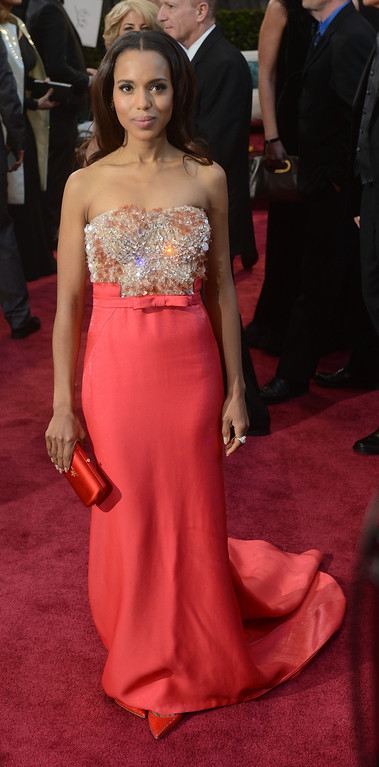 . Kerry Washington arrives at the 85th Academy Awards at the Dolby Theatre in Los Angeles, California on Sunday Feb. 24, 2013 (Hans Gutknecht, L.A. Daily News)