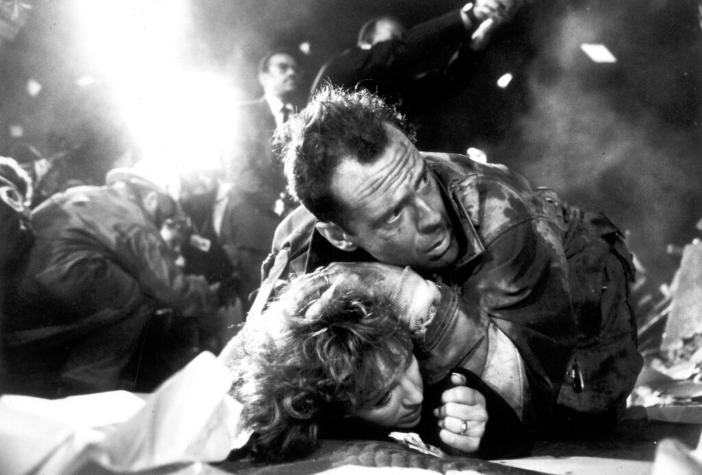". The first ""Die Hard\"" movie starring Bruce Willis as New York City Detective John McClane is released on 7/15/88.  (L.A. Daily News file photo)"