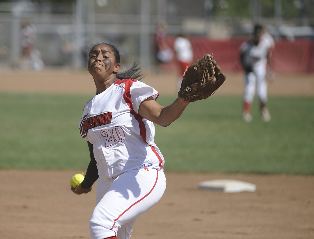 . LONG BEACH, CALIF. USA -- Lakewood\'s Janel Hayes delivers pitch against Lakewood during their Moore League game in Lakewood, Calif., on May 2, 2013. Lakewood defeated Wilson 11-1 in five innings.  Photo by Jeff Gritchen / Los Angeles Newspaper Group