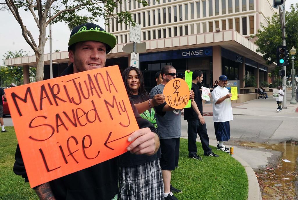 . Medical Marijuana Patients Protest outside San Bernardino City Hall Thursday May 16, 2013 in San Bernardino..LaFonzo Carter/ Staff Photographer