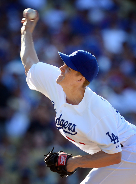 . The Dodgers\' Zack Greinke #21during their game against the Rockies at Dodger Stadium in Los Angeles Saturday, July 13, 2013. The Dodgers beat the Rockies 1-0.(Hans Gutknecht/Los Angeles Daily News)