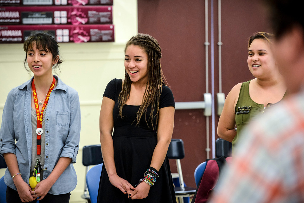 . L to R; Abby Perez, Luz Rodriguez and Kaitlin De-Regla sing with the Verdugo Hills High School Chorus after school on Tuesday, February 26, 2014.  The group will be one of the LAUSD groups to perform at the Arts Fest at Grand Central Park in Los Angeles on March 15th. (Photo by David Crane/Los Angeles Daily News)