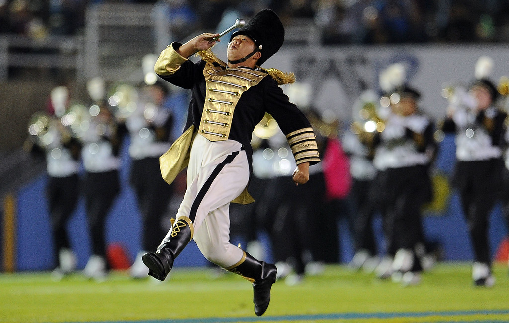. The California band performs prior to their college football game against UCLA in the Rose Bowl in Pasadena, Calif., on Saturday, Oct. 12, 2013.   (Keith Birmingham Pasadena Star-News)