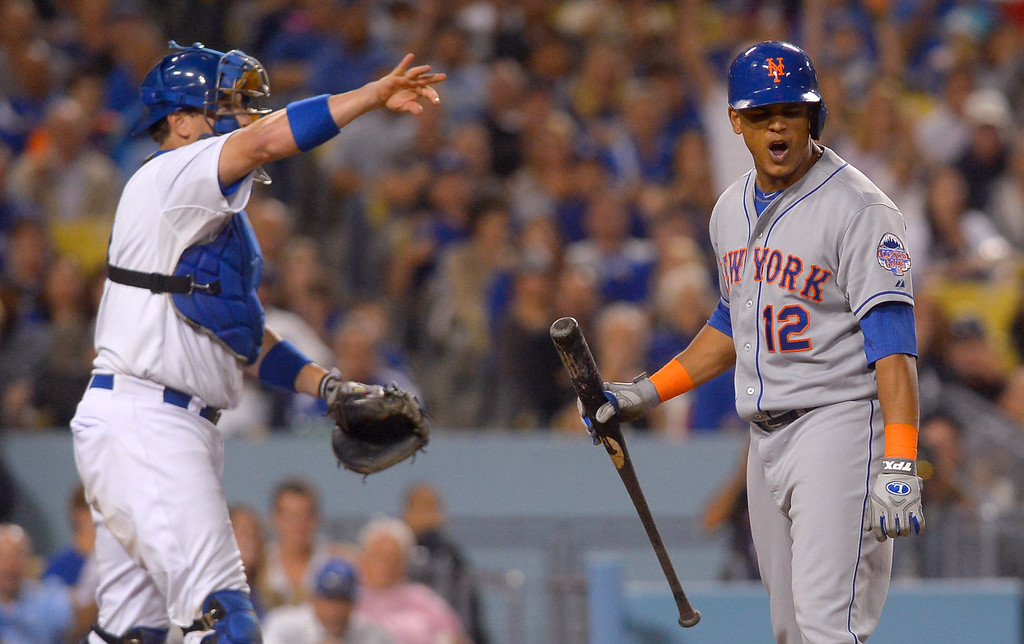 . Juan Lageres of the Mets reacts after being called out on strikes with the bases loaded in the 7th inning August 12, 2013.  The Dodgers are hosting the Mets for a three game series.(Andy Holzman/Los Angeles Daily News)