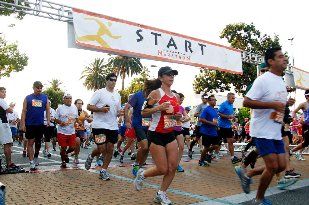 . Participants at the start of the half marathon race, during the 5th Annual Pasadena Marathon Event, at Pasadena City College, in Pasadena, Sunday, June 30, 2013. (SXCITY/Correspondent Photo by James Carbone)