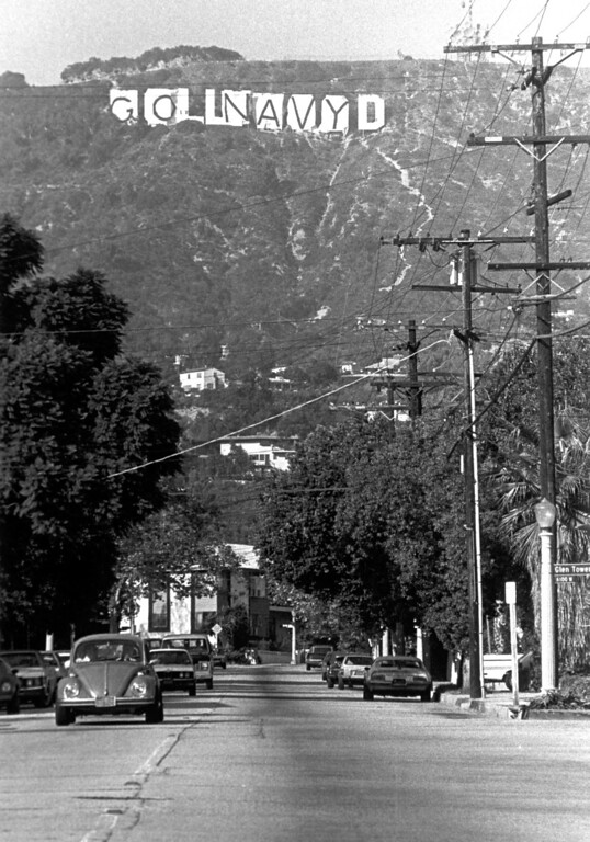 . The Hollywood sign after the Navy midshipmen got to it. 11/23/83 (L.A. Daily News file photo)