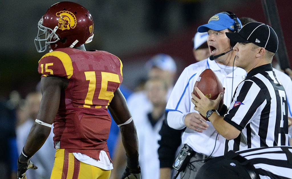 . UCLA�s head coach Jim Mora reacts during their game at the Los Angeles Memorial Coliseum Saturday, November 30, 2013.  UCLA beat USC 35-14. (Photo by Hans Gutknecht/Los Angeles Daily News)