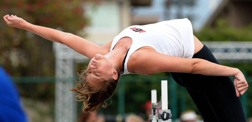 . Glendora\'s Sidney Pink competes in the division 2 high jump during the CIF Southern Section track and final Championships at Cerritos College in Norwalk, Calif., Saturday, May 24, 2014. 