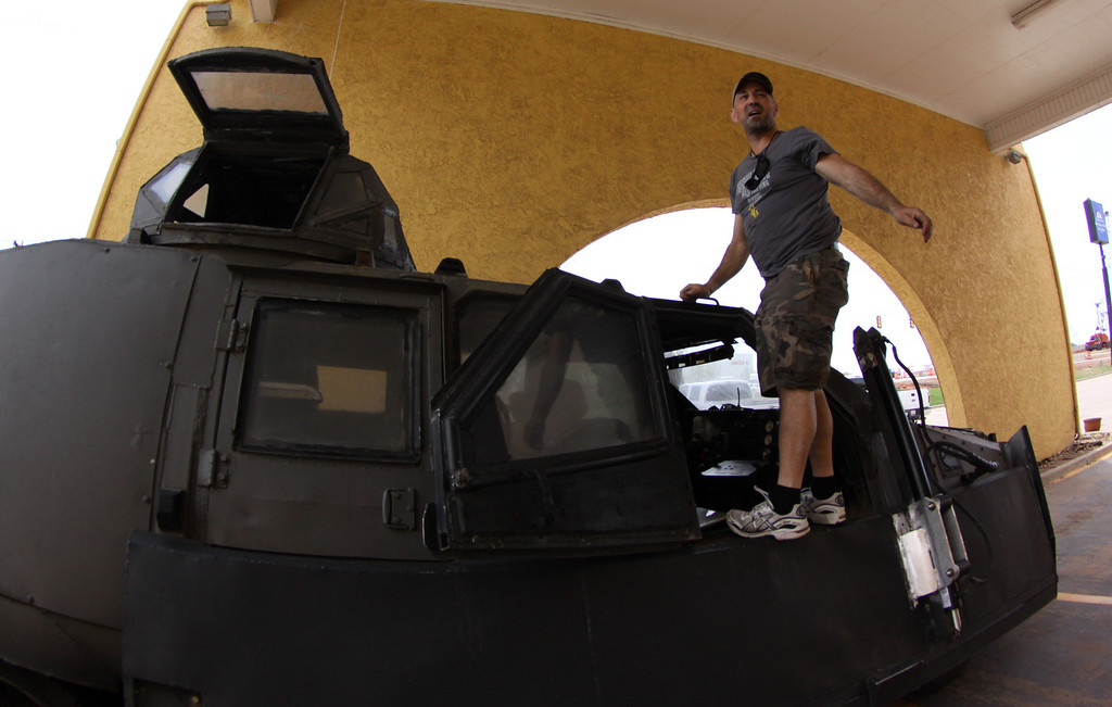 . Sean Casey - IMAX film-maker/Storm Chaser with TIV-2 (Tornado Intercept Vehicle) as he gets ready to start on another tornado IMAX film with the National Geographic in El Reno, Oklahoma Friday April 25,2014.April  26,2014. Photo by Gene Blevins/LA Daily News