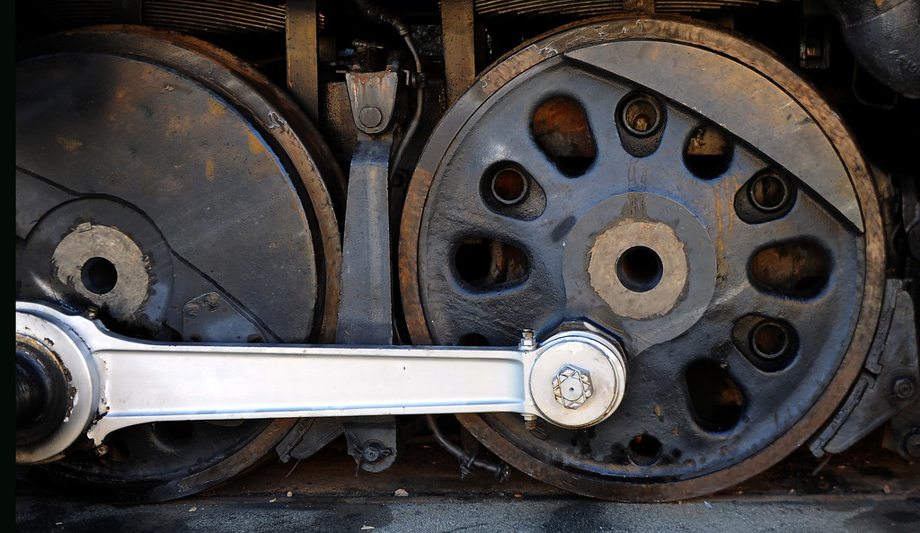 ". The wheels of the Union Pacific ""Big Boy\"" in the Railgiants Train Museum during the 91st Annual L.A. County Fair in Pomona, Calif. on Thursday, Sept. 5, 2013.   (Photo by Keith Birmingham/Pasadena Star-News)"