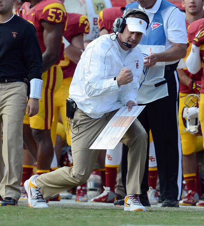 . USC head coach Lane Kiffin reacts during their PAC 12 Conference game against Arizona State at the Los Angeles Memorial Coliseum Saturday, November 10th 2012. USC beat Arizona State 38-17. (Hans Gutknecht/L.A. Daily News)
