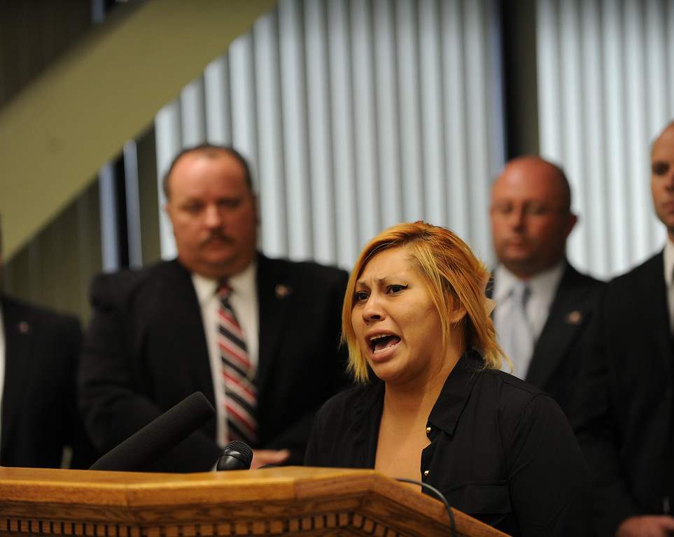 . Janet Cruz,speaks during a press conference at the San Bernardino County Sheriff\'s Headquarters Thursday August 22, 2013 in San Bernardino. Daniel Olivera 26, of Hesperia was shot and killed at the AM/PM Arco convenience store on August 11, 2013 in Victorville.LaFonzo Carter/Staff Photographer
