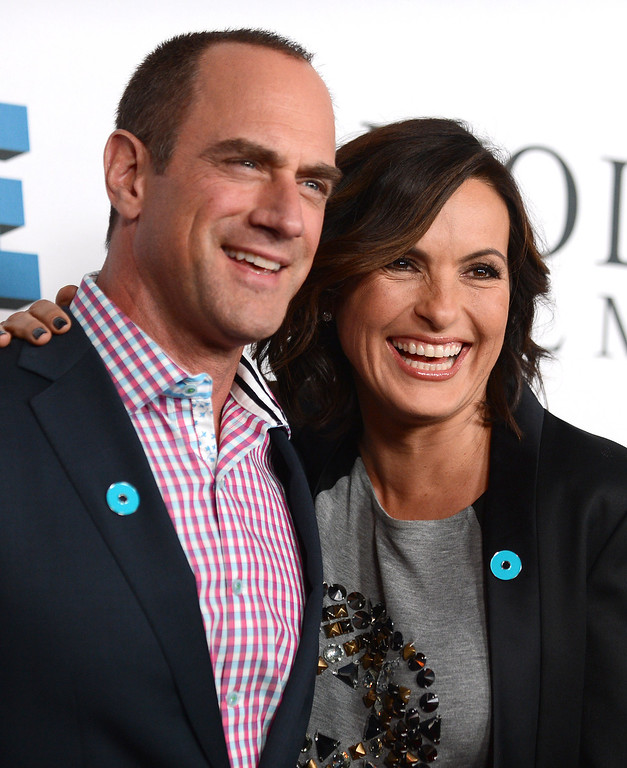 . Christopher Meloni, right, and Mariska Hargitay arrive at JoyROCKS launch of the No More PSA Campaign at the MILK Studios on Thursday, Sept. 26, 2013 in Los Angeles. (Photo by Jordan Strauss/Invision/AP)