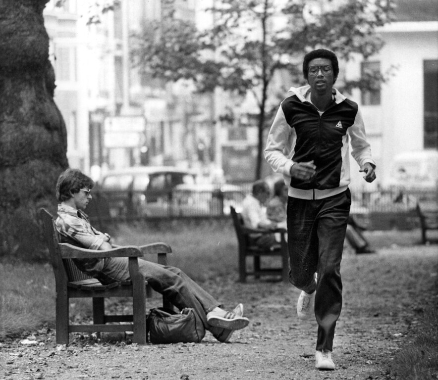 . American tennis star Arthur Ashe trains in London, June 19, 1979, for the Wimbledon championships, which start June 25th.  (AP Photo)
