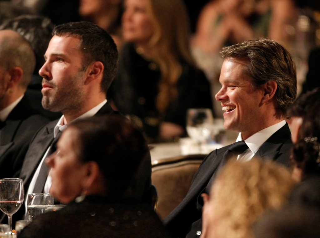 . Actor Ben Affleck, left, and actor and honoree Matt Damon look on at The 24th American Cinematheque Awards in Beverly Hills, Calif. on Saturday, March 27, 2010. (AP Photo/Dan Steinberg)