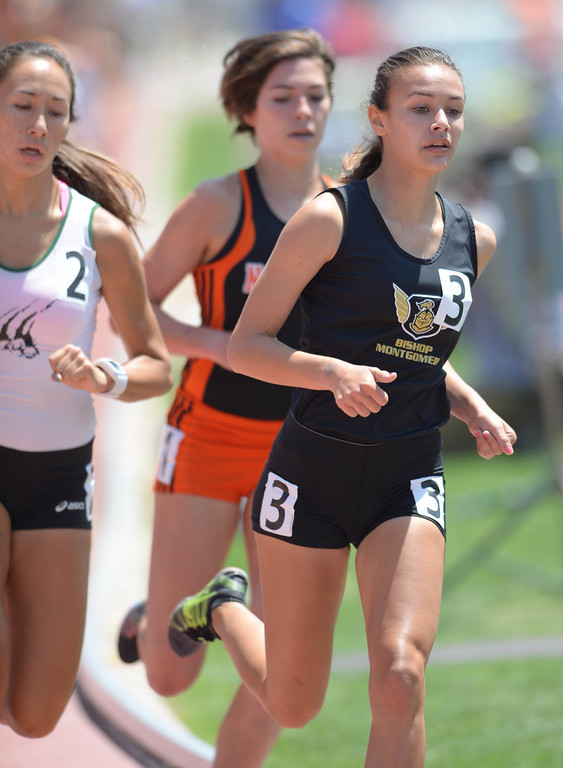 . Bishop Montgomery\'s Danielle Shanahan (3) took second in the 1600 meters Division 3 race of the CIF Southern Section Track and Field Championships Saturday at Mt. SAC. 20130518 Photo by Steve McCrank / Staff Photographer