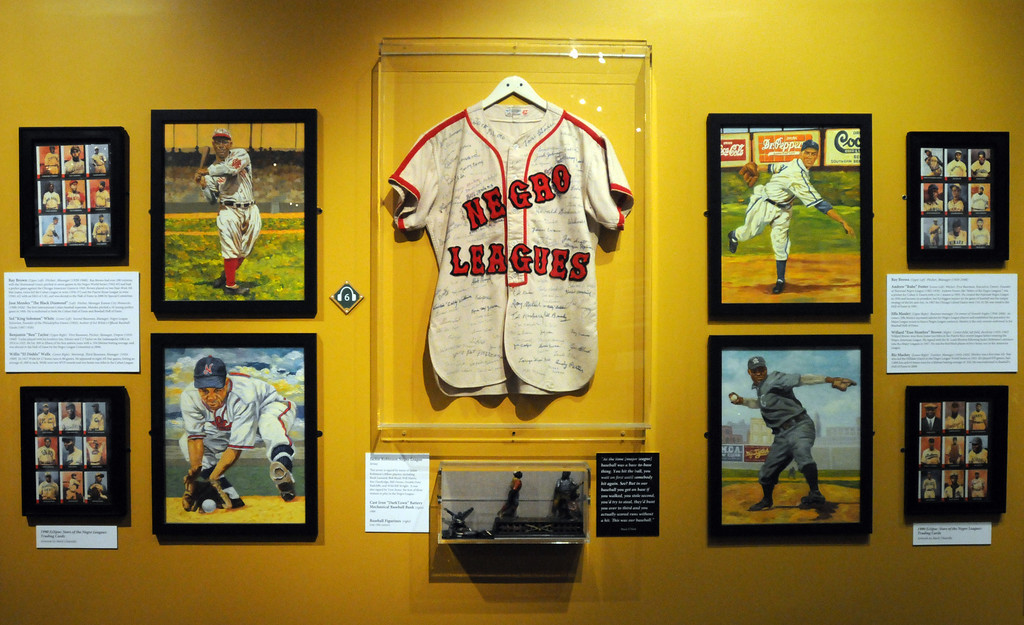 """. A section dedicated to the \""""Negro Leagues\"""" is included in the \""""Baseball!\"""" exhibit.The Exhibition opens April 4, 2014 at the Ronald Reagan Presidential Library and Museum.  Running through September 4, 2014, Baseball is a 12,000 square foot exhibition featuring over 700 artifacts, including some of the rarest, historic and iconic baseball memorabilia.  (Photo by Dean Musgrove/Staff Photographer)"""
