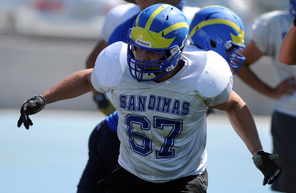 . OL/DL Jared Trujillo (67) during practice at San Dimas High School on Friday, Aug. 9, 2013 in San Dimas, Calif.   (Keith Birmingham/Pasadena Star-News)