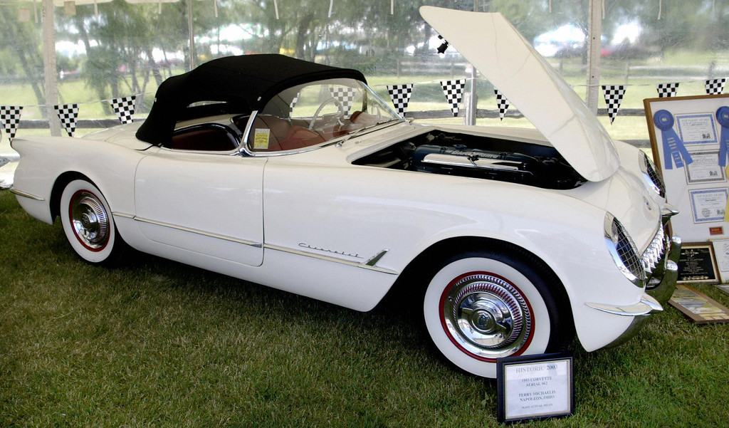 . An orginal 1953 Corvette roadster is on display 27 June, 2003 at the Bloomington Gold Corvette show in St Charles, IL. The Corvette is celebrating its 50th anniversary this weekend. The Chevy Corvette is longest running two seat production sports car to come from American car makers.   (JEFF HAYNES/AFP/Getty Images)