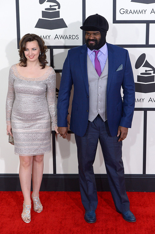 . Gregory Porter and guest arrive at the 56th Annual GRAMMY Awards at Staples Center in Los Angeles, California on Sunday January 26, 2014 (Photo by David Crane / Los Angeles Daily News)
