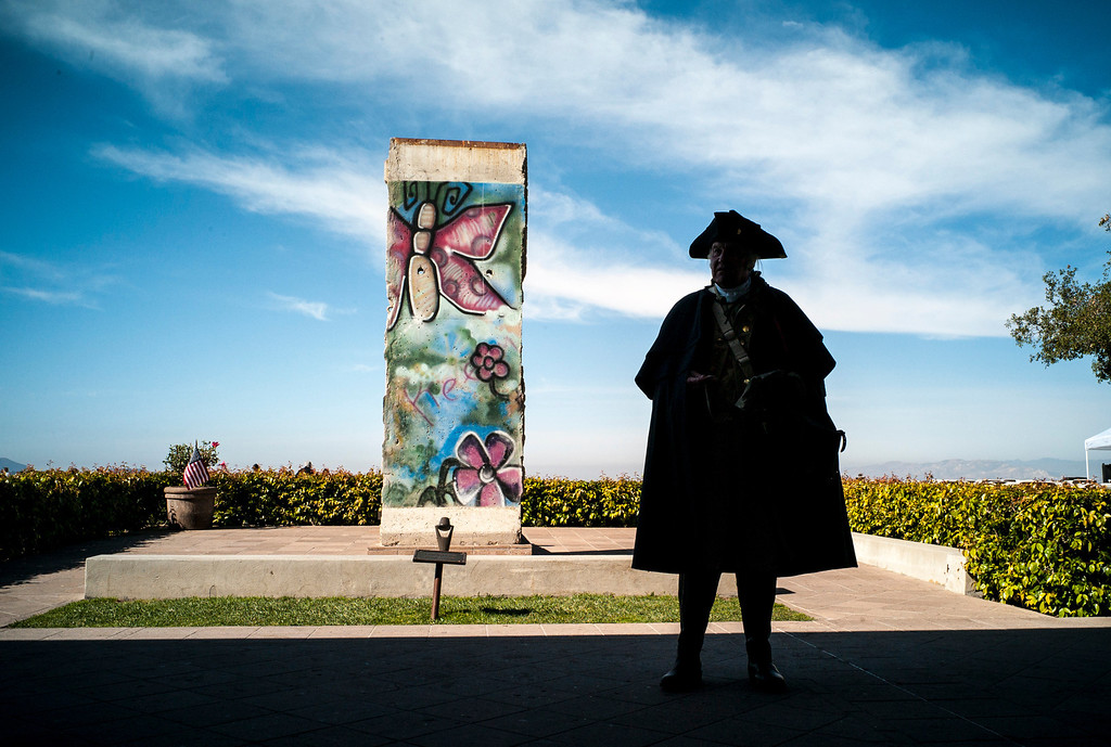 . George Washington, portrayed by Roger Cooper, waits for crowds on Presidents Day at the Ronald Reagan Presidential Library in Simi Valley, CA on February 17, 2014.   (Photo by David Crane/Los Angeles Daily News)