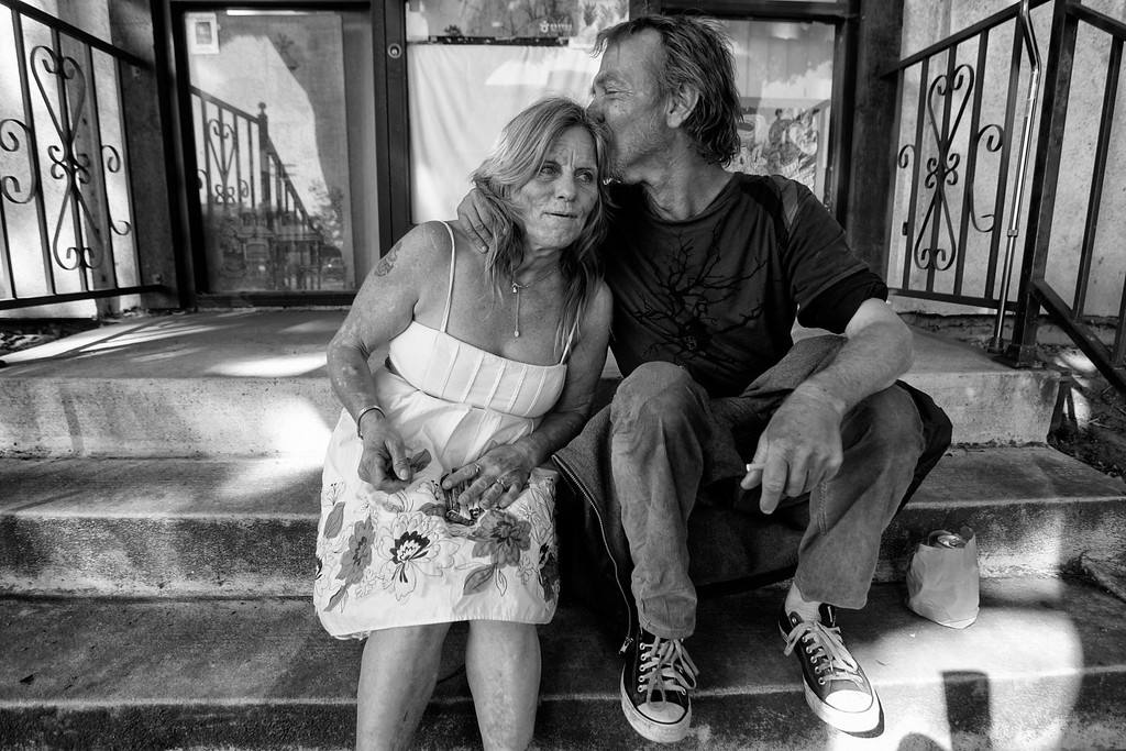 . Dorothy visits with Randy, a homeless friend.