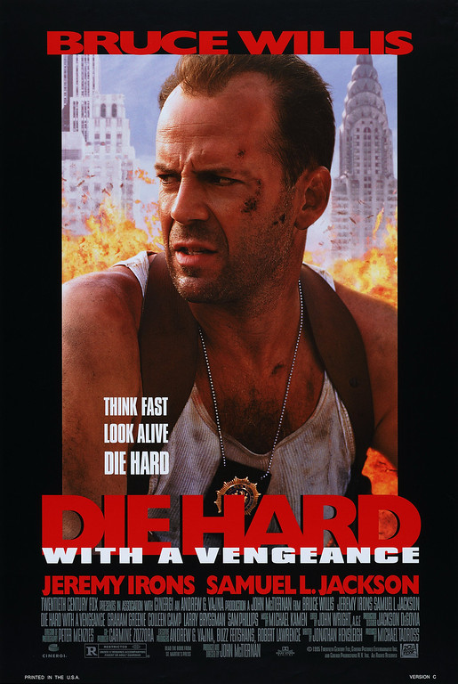 ". ""Die Hard with a Vengeance\"" movie starring Bruce Willis as New York City Detective John McClane is released on 5/19/1995."
