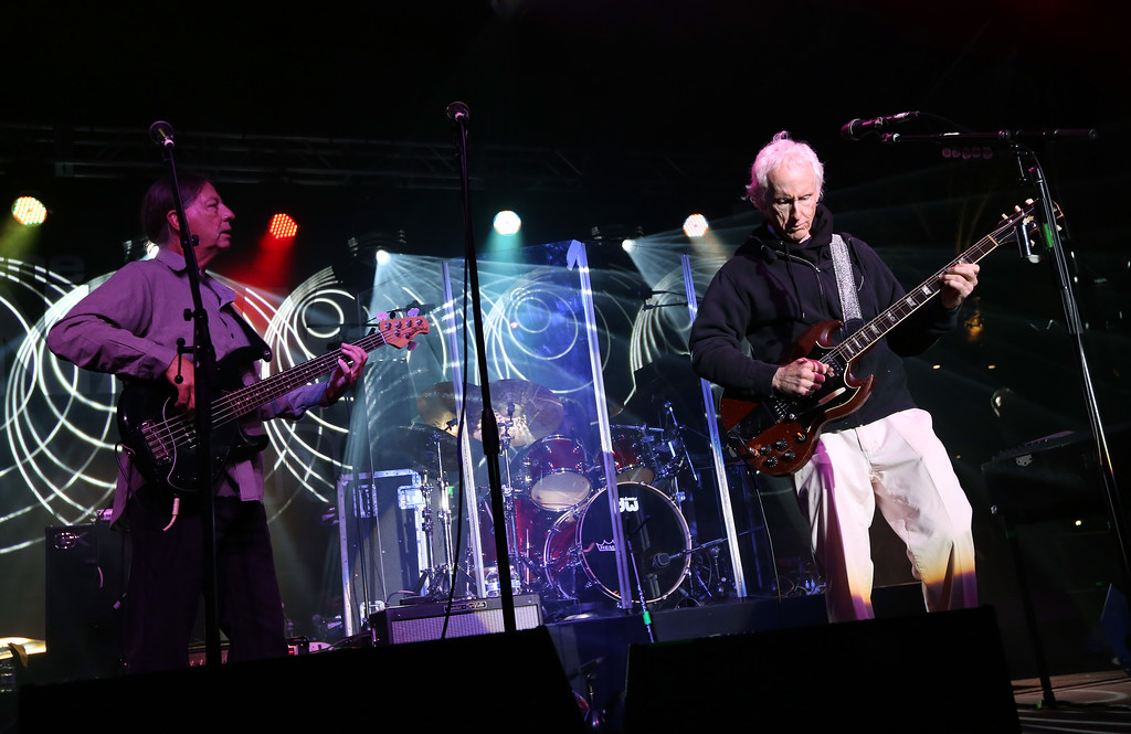 . ANAHEIM, CA - JANUARY 25:  Robby Krieger (R) and Robbie Krieger\'s Jam Kitchen perform at the 2014 National Association of Music Merchants show at the Anaheim Convention Center on January 25, 2014 in Anaheim, California.  (Photo by Jesse Grant/Getty Images for NAMM)
