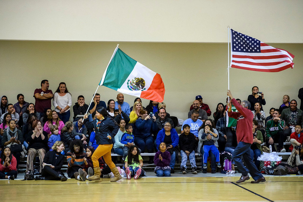 """. Triqui kids basketball team, from the mountainous region of Oaxaca, Mexico, who have been called the \""""Barefoot Champions of the Mountain,\"""" are known throughout their native Mexico for playing basketball without shoes took on the local Top Flight boys team at the Pacific Boys Lodge in Woodland Hills, CA Wednesday, December 18, 2013.  Fans root for their teams during the first game.  (Photo by David Crane/Los Angeles Daily News)"""