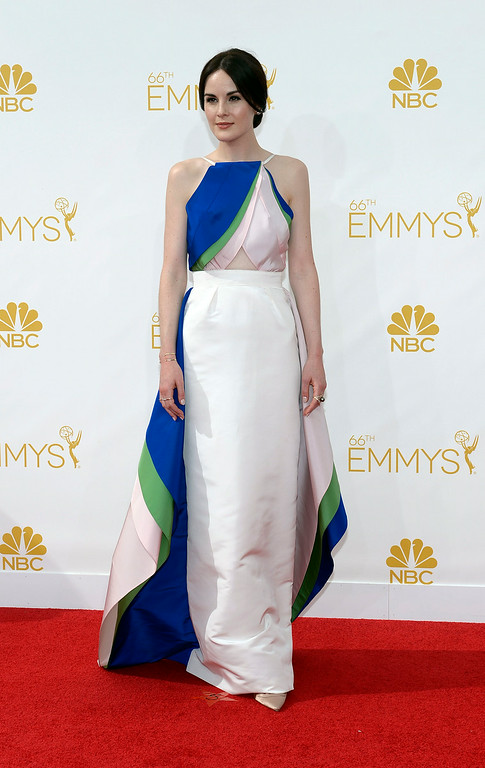 . Michelle Dockery on the red carpet at the 66th Primetime Emmy Awards show at the Nokia Theatre in Los Angeles, California on Monday August 25, 2014. (Photo by John McCoy / Los Angeles Daily News)