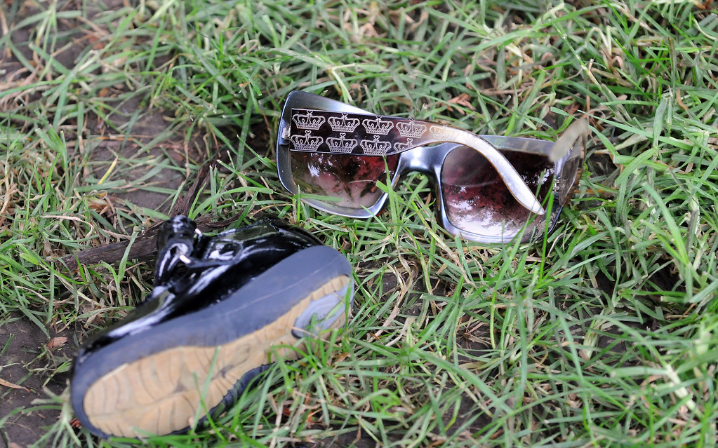 . 28 people have been injured due to malfunctioning fireworks at an annual 4th of July show in Simi Valley.  Twenty people were taken to hospitals late Thursday with minor to moderate injuries after the blast at the city-run Fireworks Extravaganza at Rancho Santa Susana Community Park.  A childs shoe and a pair of sunglasses were left behind.  (Photo by Dean Musgrove/Los Angeles Daily News)