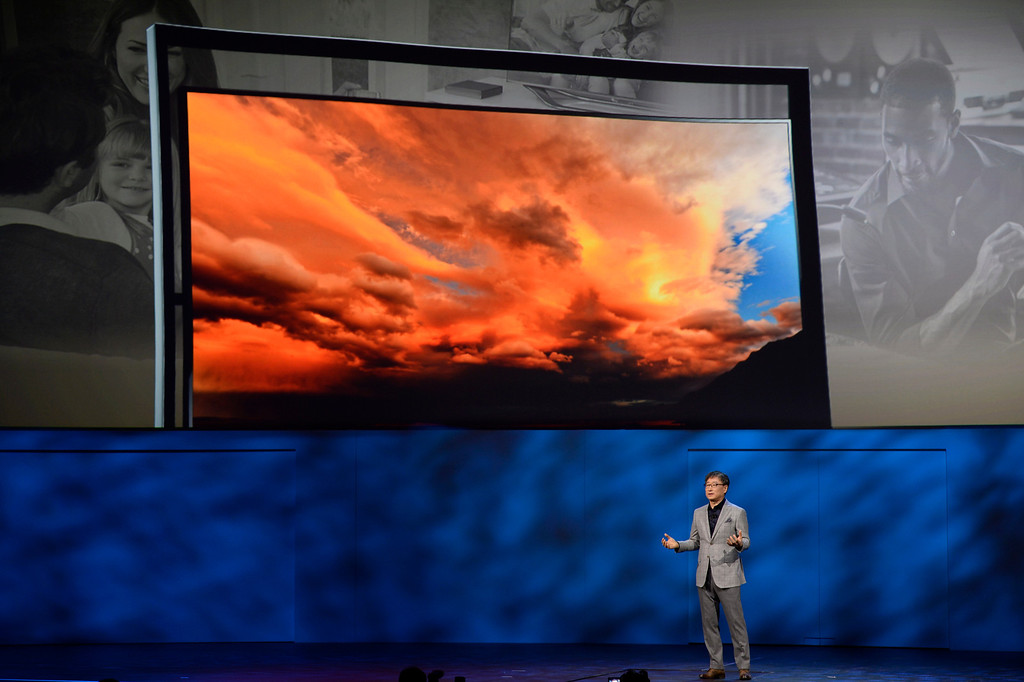 . Jan 6,2014.  Las Vegas NV. USA.  Samsung CEO BK Yoon talks during the Samsung keynote at the 2014 CES media day show Monday. The 2014 CES show starts this Tuesday and runs till Friday with a estimated crowd of 150,000 to attend the show.. Photo by Gene Blevins/LA Dailynews