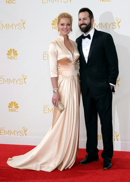 . Katherine Heigl (R) and husband Josh Kelley on the red carpet at the 66th Primetime Emmy Awards show at the Nokia Theatre in Los Angeles, California on Monday August 25, 2014. (Photo by John McCoy / Los Angeles Daily News)