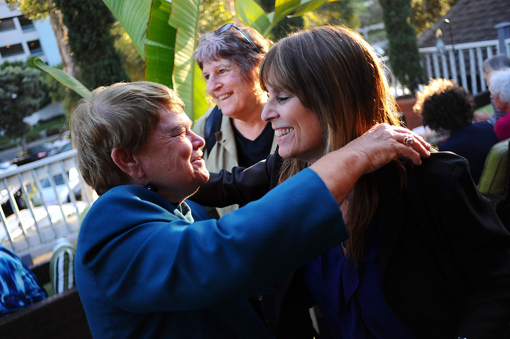 . District 3 Supervisor candidate Sheila Kuehl (lft) is greeted by a supporter during her election night party in Santa Monica June 3, 2014. .(Andy Holzman/Los Angeles Daily News)