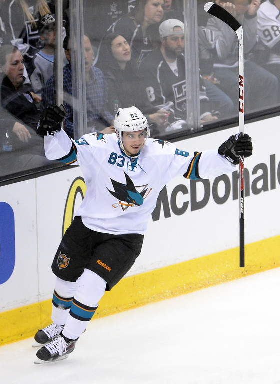 . San Jose Sharks left wing Matt Nieto reacts after scoring against the Los Angeles Kings during the second period in Game 4 of an NHL hockey first-round playoff series at Staples Center in Los Angeles on Thursday, April, 24  2014.  (Keith Birmingham Pasadena Star-News)
