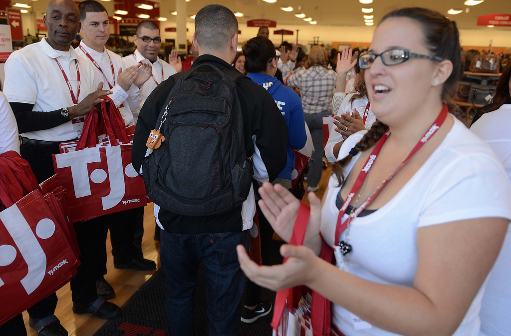 . Hundreds of shoppers came out for the grand opening of the new TJ Maxx store Sunday November 3, 2013 in San Bernardino.LaFonzo Carter
