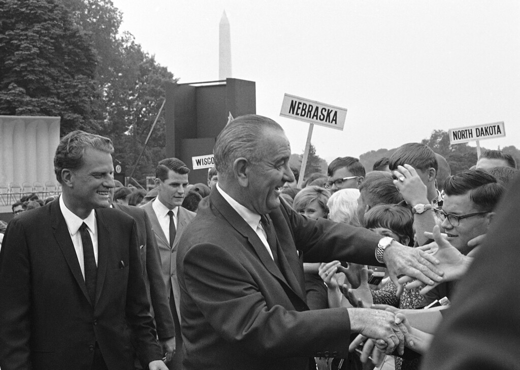 . President Lyndon B. Johnson with an old friend, evangelist Billy Graham at the White House in Washington on June 14, 1967. Graham lives near Montreat, N.C. (AP Photo/Henry Burroughs)