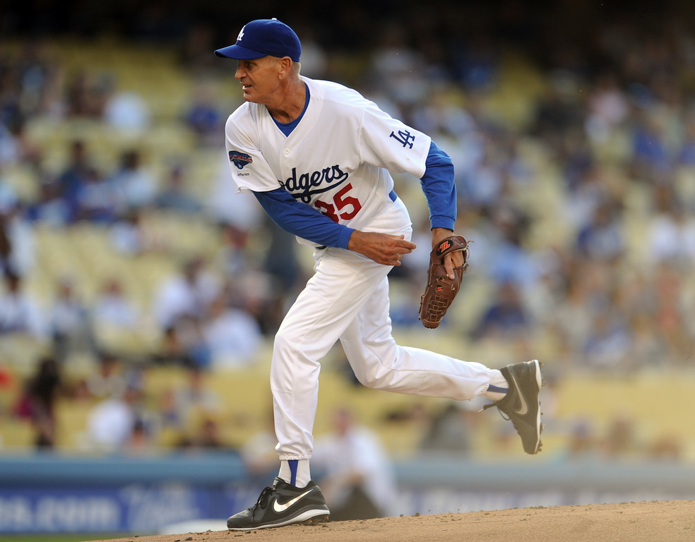 . Former Los Angeles Dodgers pitcher Bob Welch during the Old-Timers game prior to a baseball game between the Atlanta Braves and the Los Angeles Dodgers on Saturday, June 8, 2013 in Los Angeles.   (Keith Birmingham/Pasadena Star-News)