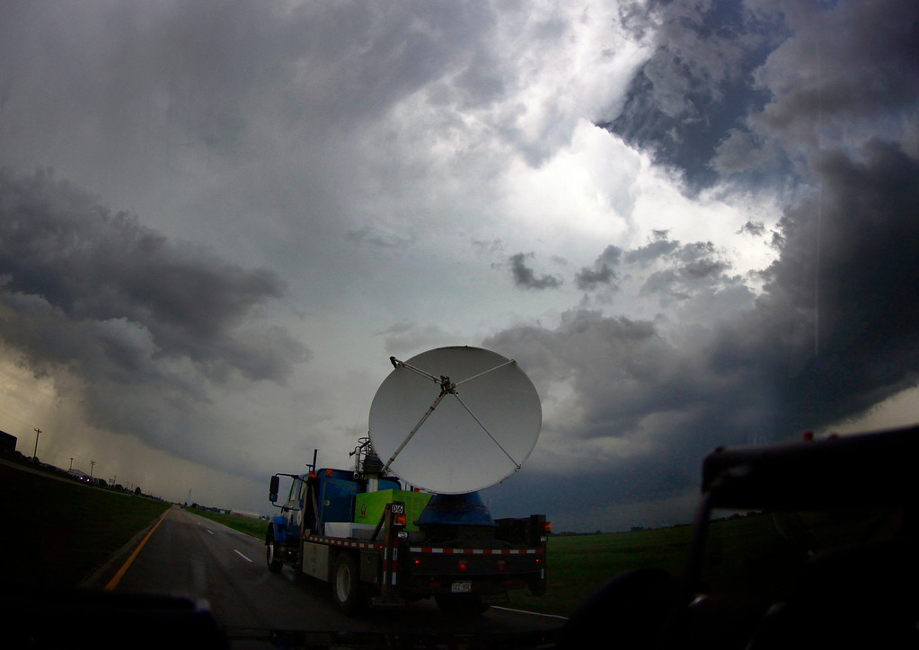 . NOAA\'s dopler rad a tracks tornadic thunderstorm passing over Clearwater Sunday May 19 in Kansas.  Several tornadoes that touched down in Oklahoma and Kansas and Iowa were part of a massive, northeastward-moving storm system that stretched from Texas to Minnesota. At least four separate tornadoes touched down in central Oklahoma late Sunday afternoon, including the one near the town of Shawnee were one person was killed 35 miles southeast of Oklahoma City. May 19.2013. South Haven Kansas. Photo by Gene Blevins/LA Daily News