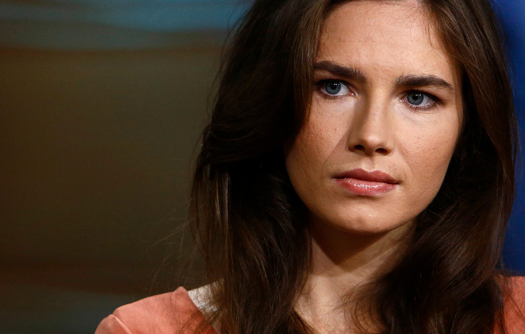 ". This image released by NBC shows Amanda Knox during an interview on the ""Today\"" show, Friday, Sept. 20, 2013 in New York. Knox defended her decision not to return to Italy for a new appeals trial over the 2007 killing of her British roommate, even as she acknowledged that \""everything is at stake,\"" insisting she is innocent. In March, Italy\'s supreme court ordered a new trial for Knox and her former Italian boyfriend. An appeals court in 2011 had acquitted both, overturning convictions by a lower court. Italian law cannot compel Knox to return for the new legal proceeding. (AP Photo/NBC, Peter Kramer)"
