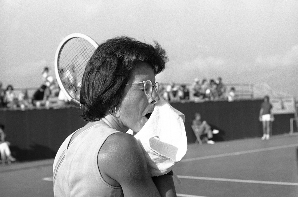 . Billie Jean King, who won the $100,000 �Battle of the Sexes� tennis match from Bobby Riggs, as she towels down during her tournament quarterfinals match with Robin Tinney at the Houston Virginia Slims in Houston on Sept. 21, 1973. King was back to the grind of tournament play after Astrodome extravaganza. (AP Photo)