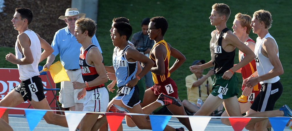 . The 1600 meter run during the CIF California State Track & Field Championships at Veteran\'s Memorial Stadium on the campus of Buchanan High School in Clovis, Calif., on Saturday, June 7, 2014. 