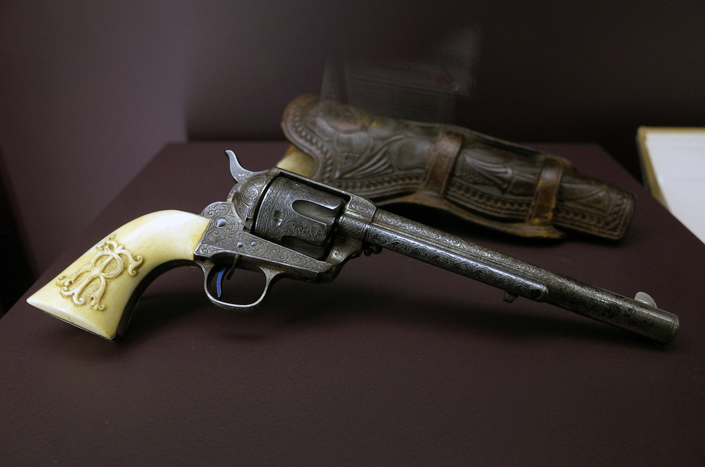 . 1883 Single Action Army Model Revolver owned by President Theodore Roosevelt on display at the Autry National Center in Los Angeles. Western Frontiers: Stories of Fact and Fiction inaugurates the Autry�s new Gamble Firearms Gallery and celebrates the gift of the George Gamble Collection, an incomparable selection of Western firearms and related materials. The exhibition explores the many roles guns have played in the history of the West, from the opening of the frontier in the late eighteenth century through television Westerns in the middle of the twentieth century. (Hans Gutknecht/Los Angeles Daily News)