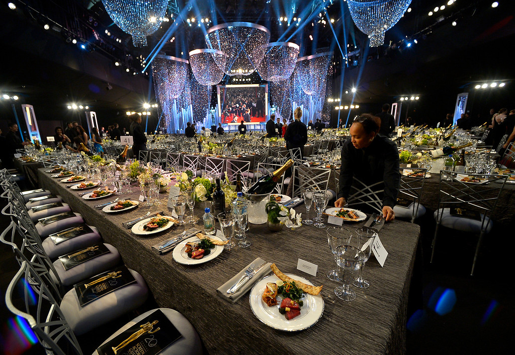 . Getting ready for the show of the 20th Annual Screen Actors Guild Awards  at the Shrine Auditorium in Los Angeles, California on Saturday January 18, 2014 (Photo by Andy Holzman / Los Angeles Daily News)