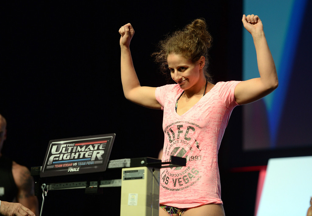 . Sarah Moras  during weigh-ins for the TUF 19 Finale: Team Edgar vs Team Penn. (Photo by Hans Gutknecht/Los Angeles Daily News)