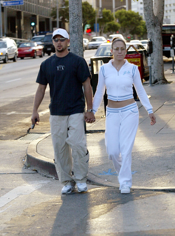 . Actress Jennifer Lopez and her husband, dancer Cris Judd leave a Pizza place on Sunset Boulevard March 9, 2002 in Beverly Hills, CA. (Photo by Mel/Getty Images)