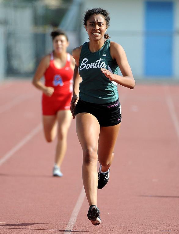 . Bonita\'s Briyan Coleman competes in the 400 meter run during the Hacienda League track finals in Walnut, Calif., on Thursday, May 8, 2014.  (Keith Birmingham Pasadena Star-News)